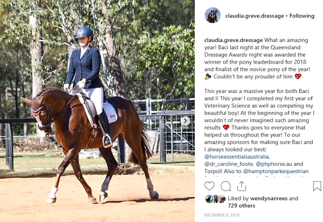Baci award winner of the Queensland Dressage 2018